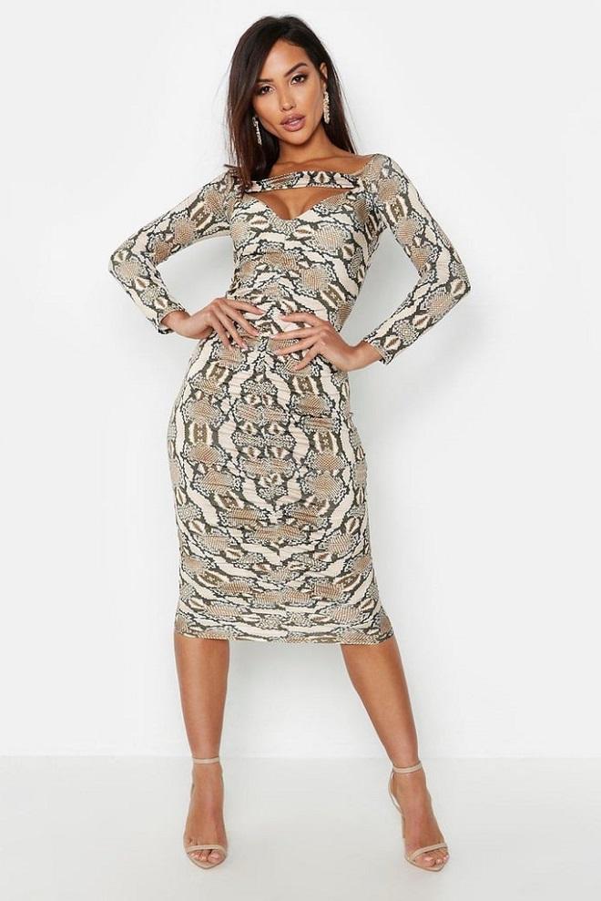 платье, змеиный принт